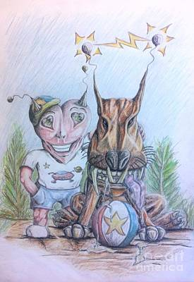 Terrestrial Drawing - Alien Boy And His Best Friend by R Muirhead Art