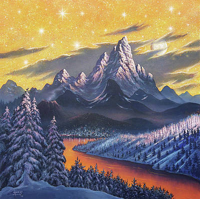 Alien City And Landscape Print by David A. Hardy