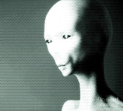 Conspiracy Digital Art - Alien Grey Pattern by Pixel  Chimp