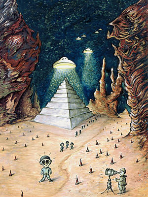 Extraterrestrial Drawing - Alien Invasion - Space Art by Art America Online Gallery