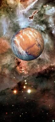 Alien Planet And Carina Nebula Print by Detlev Van Ravenswaay