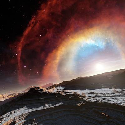 Cosmological Photograph - Alien Planet And Exploding Star by C. Robert O'dell/detlev Van Ravenswaay
