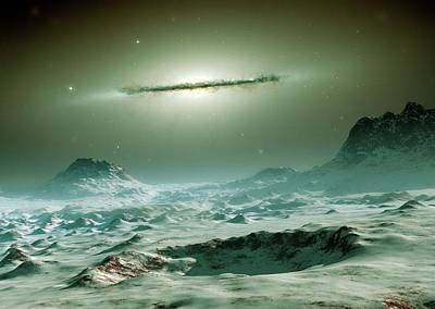 Extrasolar Photograph - Alien Planet And Galaxy by Detlev Van Ravenswaay