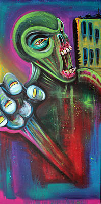 Fantasy Painting - Alien Zombie by Laura Barbosa