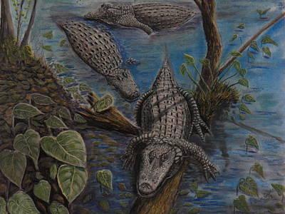 Aligators At Rest Print by Richard Goohs