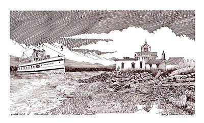 Seattle Drawing - Steamship Virgina V Rounding Alki Point Seattle by Jack Pumphrey