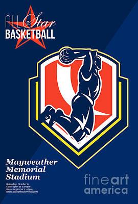 All American Basketball Retro Poster Print by Aloysius Patrimonio