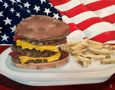 Cheeseburger Painting - All American by Victoria Dietz