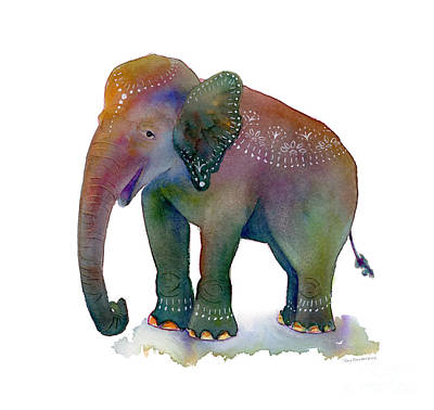 Elephant Painting - All Dressed Up by Amy Kirkpatrick