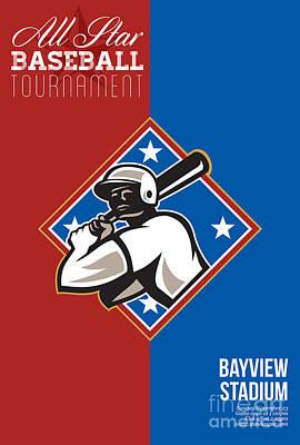 All Star Baseball Tournament Retro Poster Print by Aloysius Patrimonio