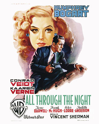 Movie Poster Photograph - All Through The Night Movie Poster Bogart by MMG Archive Prints