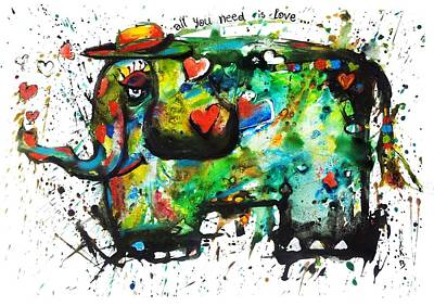 Happy Elephant Painting - All You Need Is Love by Dreja Novak