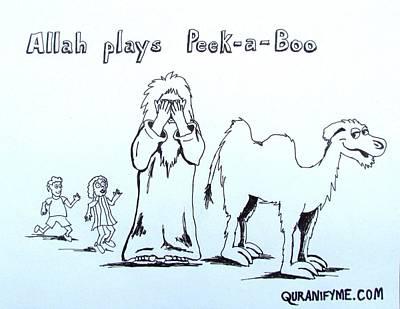 Allah Plays Peekaboo Original by Agnostic Artist