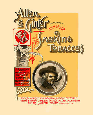 Cigarette Ads Photograph - Allen And Ginter Tobacco Ad by The  Vault - Jennifer Rondinelli Reilly