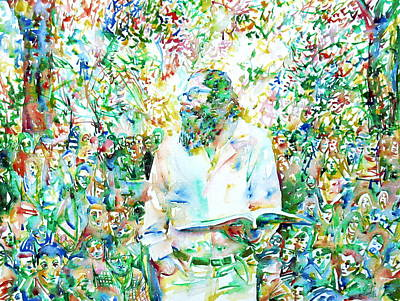 Images Painting - Allen Ginsberg Reading At The Park by Fabrizio Cassetta