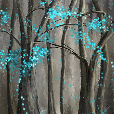 Lime Tree Painting - Alleviation- Gray And Turquoise Art by Lourry Legarde