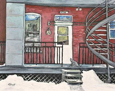 Montreal Winter Scenes Painting - Alley Cat In Verdun by Reb Frost