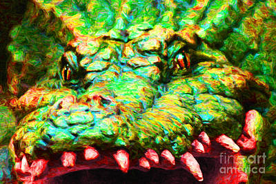 Crocodile Digital Art - Alligator 20130702 by Wingsdomain Art and Photography