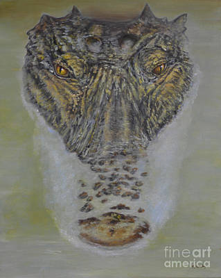 Crocodile Painting - Alligator Alert by Nancy Lauby