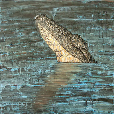 Crocodile Mixed Media - Alligator With Teeth by Justine Tiburzi