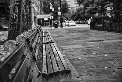 Park Benches Photograph - Alls Quiet In The City by Karol Livote