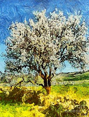Landscape Painting - Almond Tree by Dragica  Micki Fortuna
