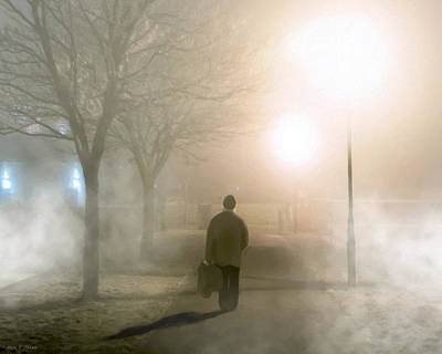 Alone In The Fog In Galway Print by Mark E Tisdale