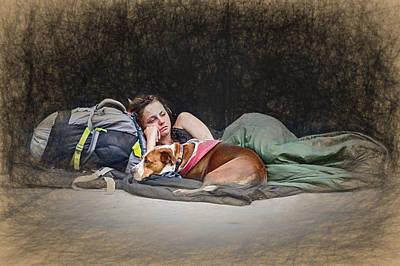 Park Scene Mixed Media - Alone With Her Dog by John Haldane