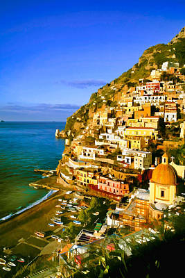 Italian Landscape Mixed Media - Along The Amalfi Coast by Cliff Wassmann