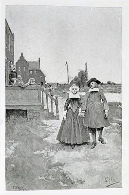 Along The Canal In Old Manhattan, Illustration From The Evolution Of New York By Thomas A. Janvier Print by Howard Pyle
