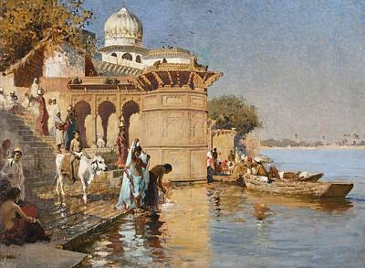 India Painting - Along The Ghats by Celestial Images