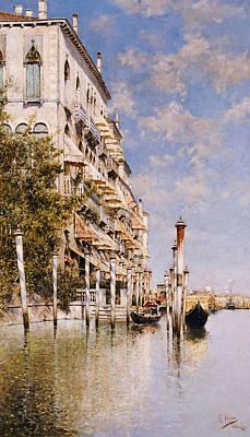 Along The Grand Canal Print by Rafael Senet