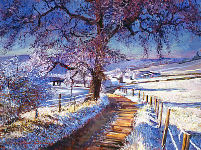 Meadow Painting - Along The Snow Lined Road by David Lloyd Glover