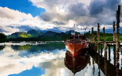 Fishing Painting - Alongside by VRL Art