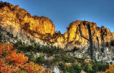 Alpenglow At Days End Seneca Rocks - Seneca Rocks National Recreation Area Wv Autumn Early Evening Print by Michael Mazaika