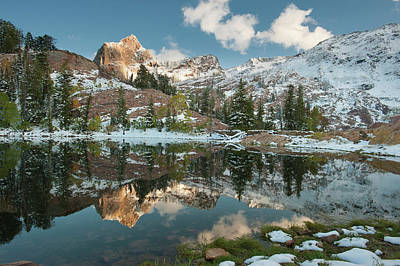 Blanche Photograph - Alpenglow On Sundial Peak, Reflection by Howie Garber