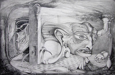 Visionary Art Drawing - Alpha And Omega - The Reconstruction Of Bogomils Universe by Otto Rapp