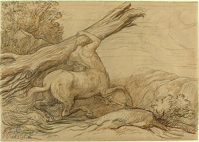 Centaur Drawing - Alphonse Legros, Centaur Carrying A Tree Trunk by Quint Lox