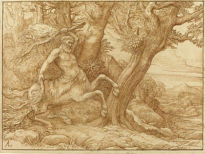 Centaur Drawing - Alphonse Legros, Centaur With Branches, French by Quint Lox