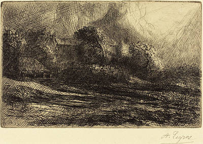 Storm Drawing - Alphonse Legros, Chailli Seen In A Storm Chailli Effet by Quint Lox