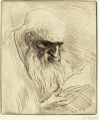 Alphonse Legros, Study Of The Head Of A Man Reading Etude Print by Quint Lox