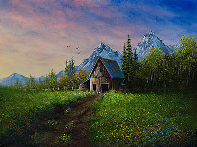 Bob Ross Painting - Alpine Barn by C Steele
