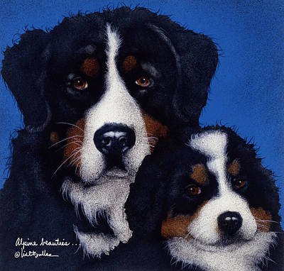 Puppy Painting - Alpine Beauties... by Will Bullas