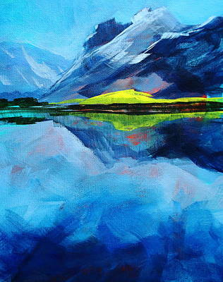 Alpine Lake Mountain Landscape Painting Print by Nancy Merkle