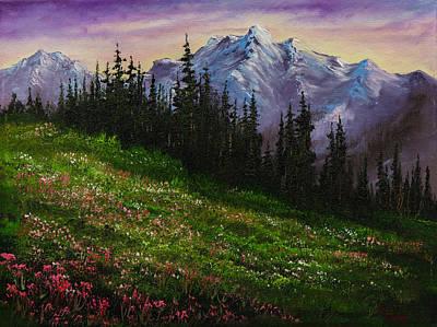 Sawtooth Mountain Art Painting - Alpine Meadow by C Steele