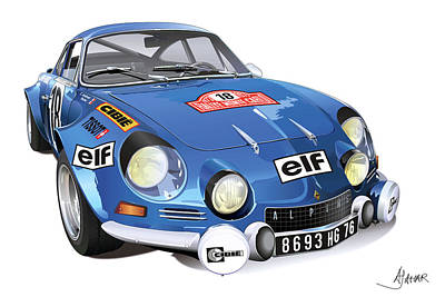 Automotive.digital Digital Art - Renault Alpine A110 by Alain Jamar