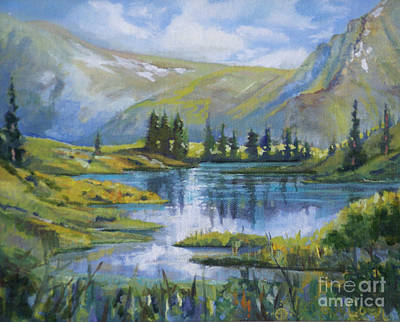 Alpine Ridge Pond Original by Heather Coen