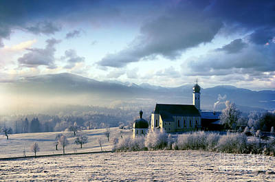 Religion Photograph - Alpine Scenery With Church In The Frosty Morning by Michal Bednarek
