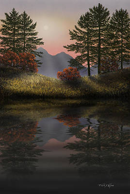 Digitally Manipulated Mixed Media - Alpine View Reflections by Frank Wilson