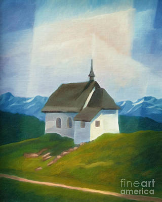 Mountain Scene Painting - Alps Chapel by Lutz Baar